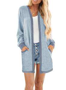 MIHOLL Women Color Block Cardigan Long Sleeve Open Front Leightweight Sweater Cardigan with Pockets (Blue, Large)