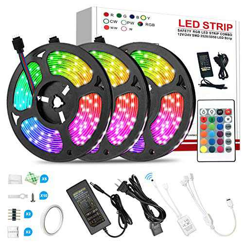 50ft LED Strip Lights, Ultra-Long RGB 5050 LED Strips with Remote Controller and Fixing Clips,24-Key Remote Color Changing Tape Light with 12V ETL Listed Adapter for Bedroom, Room, Kitchen, Bar