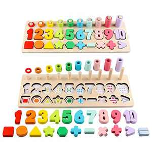 Wooden Number Puzzle Sorting Montessori Toys for Toddlers Counting Color Stacking Shape Sorter Games Preschool Education Learning Sensory Activities Toys for Age 3 4 5 Boy Girl Kid Board Jigsaw