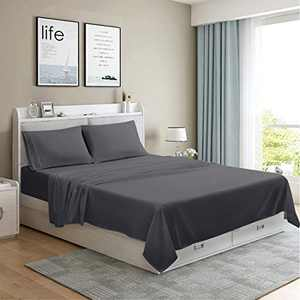 MOONCAST 3 Pieces Twin XL Bed Sheet-Extra Soft and Hotel Luxury Feeling-Durable Machine Washable Microfiber-Dark Gray Bed Sheet Set(Twin XL,Dark Gray)
