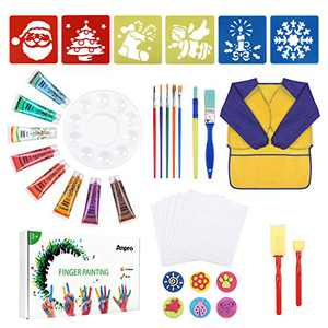 Anpro 38 PCS Washable Paint Brushes Set- Washable Paint for Toddler Kids Early Learning Toys Finger Paints Paint Set, Art Supplies Gifts