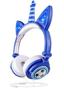 [New Football Design LOBKIN Unicorn Kids Cat Ear Headphones for Girls Boys Toddlers Tablet School Supply Gifts,Light Up Wired Kids Headphones Over On Foldable Ear Game Headset Holiday Birthday Gifts