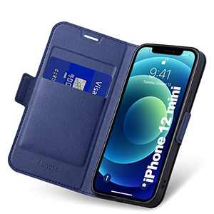 Aunote iPhone 12 Mini Case, iPhone 12 Mini Phone Case, Slim Flip/Folio Cover – Wallet Style: Made of PU Leather Shell (Lightweight, Feels Good) and TPU Inner - Full Protection. Blue