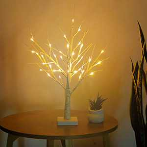 N/G Birch Tree Light 2FT 36 LED Tabletop Bonsai Tree Fairy Light Battery Powered Jewelry Holder Decor Warm White for Dining Room Wedding Festival Party Christmas Tree Decoration