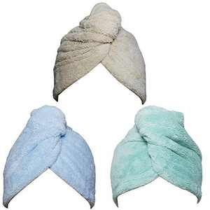 Hair Towel Wrap Turban 3 Pack Super Absorbent Microfiber Quick Dry Hair Towel with Button, Dry Hair Hat, Wrapped Bath Cap 26inch/10inch Green/Blue/Coffee