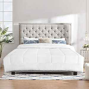 TECHTIC Comforter Duvet Insert Twim Size, Plush White Comforter Down Alternative Quilted Stand Alone Bedding Comforter Box Stitched, Machine Washable