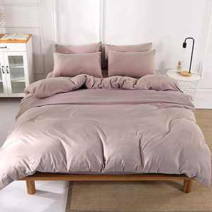 Microfiber Duvet Cover Set 3 Pieces Full Queen Modern Bedding Sets with 2 Pillowcases Soft Simple Style