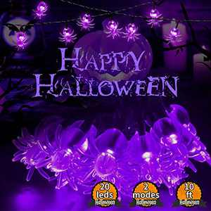 Kandice Halloween String Lights, 2 Modes&Battery Powered Spider Lights, Halloween Decorative Lights with IP65-Waterproof Features are Perfect for Decorating Outdoor or Indoor Halloween Atmosphere