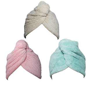 Hair Towel Wrap Turban 3 Pack Super Absorbent Microfiber Quick Dry Hair Towel with Button, Dry Hair Hat, Wrapped Bath Cap 26inch/10inch Green/Pink/Coffee