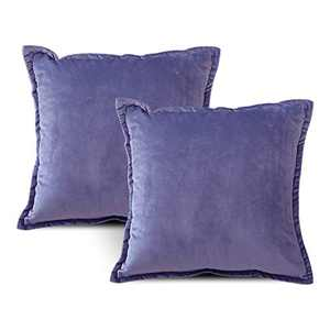 EIUE Soft Velvet Throw Pillows,Set of 2 Home Decor Decorations Square Couch Cushion with Polyester Stuffing for Sofa Bed Chair Office and Travel Car (Violet, 18 x 18)