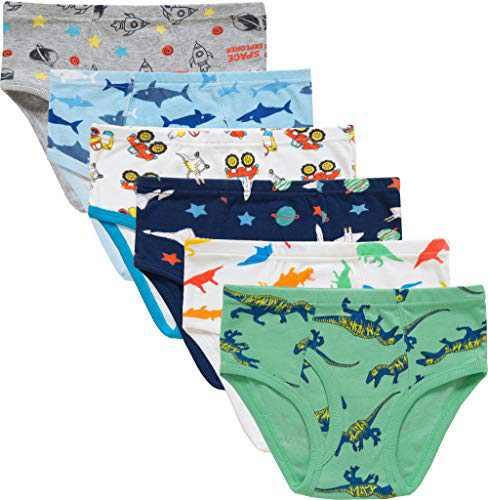 Little Boys Dinosaurs Briefs Toddler Kids Space Underwear Soft Cotton Sharks Undies(Pack of 6)