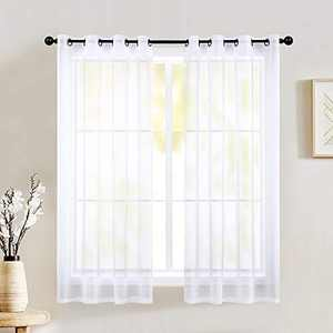 Ivory Sheer Curtains 45 Inch Length for Bathroom 2 Panels Grommet Drape Semi Sheer Short Curtains for Boys Bedroom Girls Kids Room Small Windows Basement Kitchen Off White W52 by L45 Inches Long