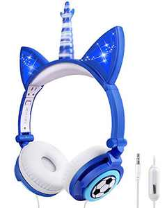 sunvito Unicorn Headphones, Wired Kids Headphone with Microphone, Fold-able On Ear Headphones with LED Glowing Light for School Birthday Gifts (Blue)