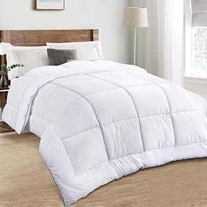 TECHTIC Comforter Duvet Insert Queen Size, Plush White Comforter Down Alternative Quilted Stand Alone Bedding Comforter Box Stitched, Machine Washable