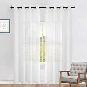 Naturoom Ivory Curtains 108 Inches Long for Living Room Set 2 Panels Window Semi Voile Drapes Faux Linen Solid Transparent Off White Curtains for Bedroom Party Backdrop 52x108 Inch Length