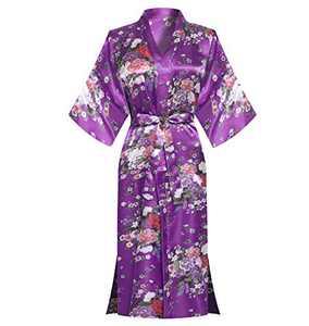 MORFORU Women Silky Long Robes Bride Bridesmaid Satin Floral Kimono Bridal Party Sleepwear Lounge Wear (Purple, One size)