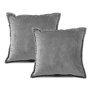 EIUE Soft Velvet Throw Pillows,Set of 2 Home Decor Decorations Square Couch Cushion with Polyester Stuffing for Sofa Bed Chair Office and Travel Car (Darkgray, 20 x 20)