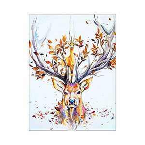 """AMEMNY DIY 5D Colour Animal Diamond Painting Kits for Adult Painting by Number Kit Round Drill Embroidery Cross Stitch Colour Deer Diamond Painting Set for Home Wall Decor (12""""x16""""inch)"""