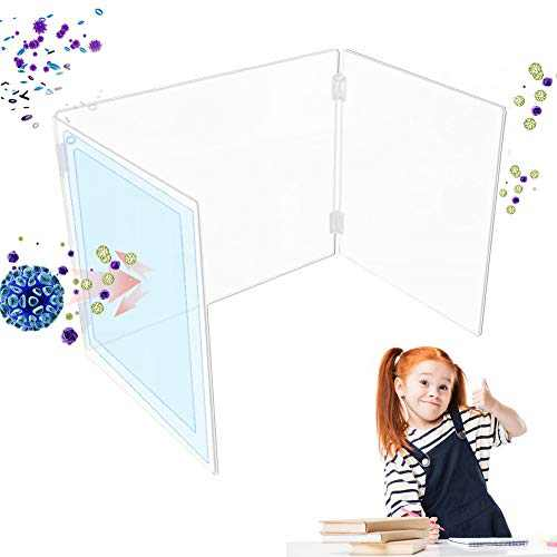 1 Set Sneeze Guard Shield Multifunctional Translucent Student Desk Dining Table Protection Plate Baffle Splash-Proof Baffle Divider for Cashier, Receptionist, Clerk–Retail