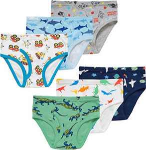 Little Boys Dinosaurs Soft Cotton Rocket Underwear Toddler Car Panties Kids Sharks Briefs(Pack of 6) 2T