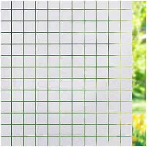 Viseeko Privacy Window Film Frosted Window Cling Square Pattern Window Covering Non Adhesive Window Sticker Glass Door Film UV Blocking for Home Office Living Room(17.5 x 78.7Inches)