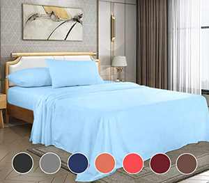 Full Bed Sheets Set,Bed Sheet Set Soft Microfiber 4-Piece,16 Inch Deep Pocket Fitted Sheets,1800 Thread Count Sheets Series Wrinkle, Shrink, Fade, Stain Resistant (Full-Lake Blue)