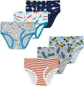 Christmas Boys Striped Briefs Children Rocket Underwear Kids Dinosaurs Panties(Pack of 6) 4T