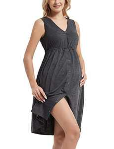 Bhome 3 in 1 Nursing Gown Labor delivery Hospital Maternity Nightgown Vneck Dress for Breastfeeding Charcoal Gray S
