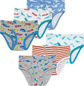 Little Boys Dinosaurs Briefs Soft Sharks Toddler Underwear 100% Cotton Car Undies Children Airplane Panties(Pack of 6)