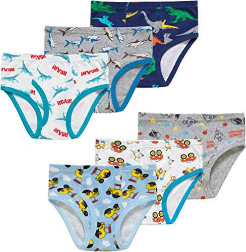 Christmas Boys Cars Underwear Kids Children Cotton Dinosaurs Panties Breathable Airplane Comfort Briefs(Pack of 6)