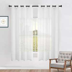 Naturoom Off White Sheer Curtains for Girls Bedroom 2 Panels Grommet Voile Semi Sheer Curtains for Kids Room Baby Nursery Teen Toddler Teenager Littel Princess Daughter Closet Pretty Ivory 63 Inch