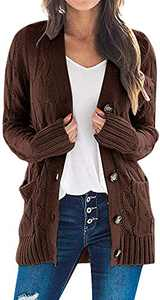 TARSE Women's Open Front Cardigan Sweaters Pockets Long Sleeve Cable Outwear Chunky Knitwear Coat (CoffeeBrown,S)