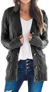 TARSE Women's Open Front Cardigan Sweaters Pockets Long Sleeve Cable Outwear Chunky Knitwear Coat (Darkgray,XL)