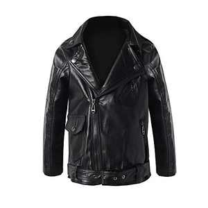 Meeyou Children's Motorcycle Leather Jacket, Faux Leather Coat for Boys/Girls (140/7-8T, Black style-2)