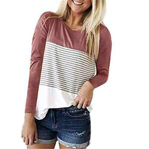 DKKK Crew Neck T Shirt Women Casual Long Sleeve T-Shirt Tops for Leggings Junior Tunic Spring Stretch Regular Relaxed Fit Tees Maternity Tunic Over Plus Size Stripe Red 2XL