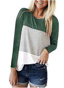 DKKK Tunic Tops for Leggings for Women Long Sleeve Shirts Crew Neck T Shirt Plain Knit Flared Bottom Fit Loosely Summer Clothes Casual Maternity Tunic Stripe Green M