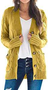 TARSE Women's Open Front Long Sleeve Cardigan Sweater Cable Knit Pocket Outwear,Mustard Yellow,L