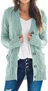 TARSE Women's Open Front Long Sleeve Cardigan Sweater Cable Knit Pocket Outwear,Mintgreen,M