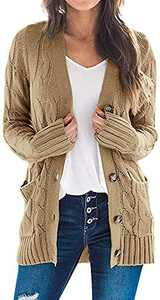 TARSE Women's Open Front Long Sleeve Cardigan Sweater Cable Knit Pocket Outwear,Khaki,XL