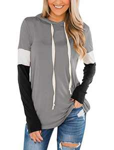 Minclouse Women's Long Sleeves Color Block Sweatshirts Hoodie Pullover Casual Drawstring Cute Tunic Tops Grey