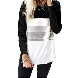 DKKK Loose Fitting Tops for Women Long Sleeve Tunics for Leggings Round Neck Color Block Tshirt Casual 2XL Shirts Pretty Curved Hem Loose Fit Tunic Tees Stripe Black XXL