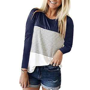 DKKK Plain Shirts for Women Stylish Tops to Wear with Leggings Dressy Long Sleeve Solid Color Tunics Scoop Neck Flowy Hem Daily Wear Plus Size Blouses for Work Office Stripe Dark Navy Blue XL