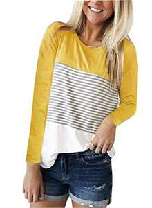 DKKK T Shirts for Women Ladies Tops Long Sleeve Casual Tunic Basic Tees Design Leopard Soft Knits Swing Solid Color Loose Fitting Cute Outfits Stripe Yellow M