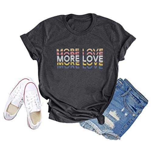GEMLON Women Love is Love Shirt More Love Letter Print Casual Short Sleeve Tee Tops(L) Dark Grey