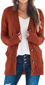 TARSE Women's Open Front Long Sleeve Cardigan Sweater Cable Knit Pocket Outwear,Rustred,XL