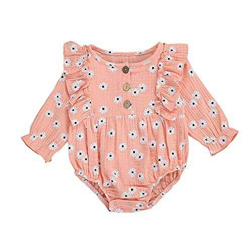 Infant Baby Girls Floral Romper Bodysuit One Piece Ruffle Long Sleeve Fall Winter Clothes Outfit (Pink, 6-9M)