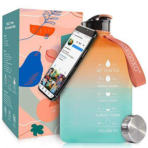 SOCOO Gallon Water Bottle 2.7Litre Square Water Jug with Time Marker BPA Free Jug with a Magnetic Phone Holder Leak Proof Reusable Big Water Bottle for Men Women Fitness Gym (91oz Gradient)