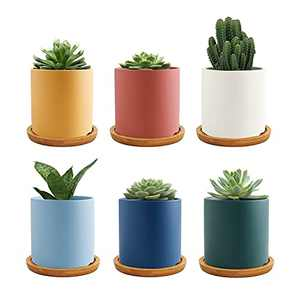 Gdamal Ceramic Small Plant Pots, 3.1 Inch Morandi Color Succulent Pots with Drainage Holes, Flower Pot Container for Indoor Outdoor, Set of 6(Plants NOT Included)