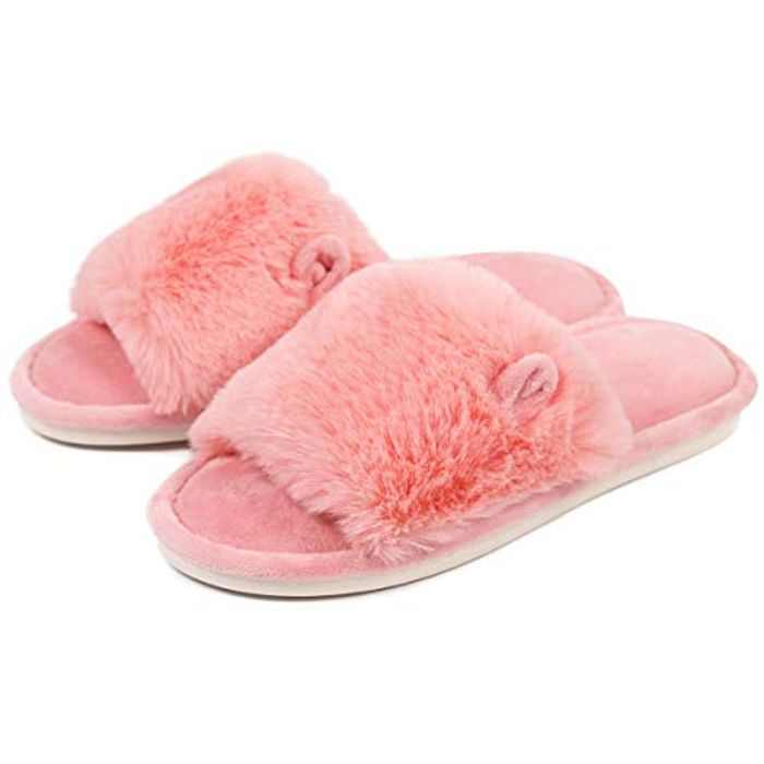 Caramella Bubble Women's Open Toe Bunny Fuzzy Slippers, Furry Fur House Indoor Outdoor Slippers, Soft Plush Memory Foam Flat Anti-Slip Spa Slide Slipper