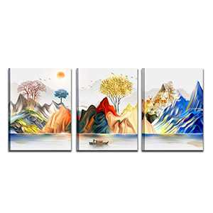 CHWF HAOLIMAI Natural Large Wall Art Ready To Hang Abstract Mountain Canvas Prints Work Modern Mountain Decorative Art Print pictures for Bedroom Wall Decoration Art Work For Home Walls